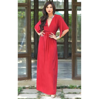 KOH KOH Women's V-neck Half Sleeve Empire Caftan Long Maxi Dress (More options available)