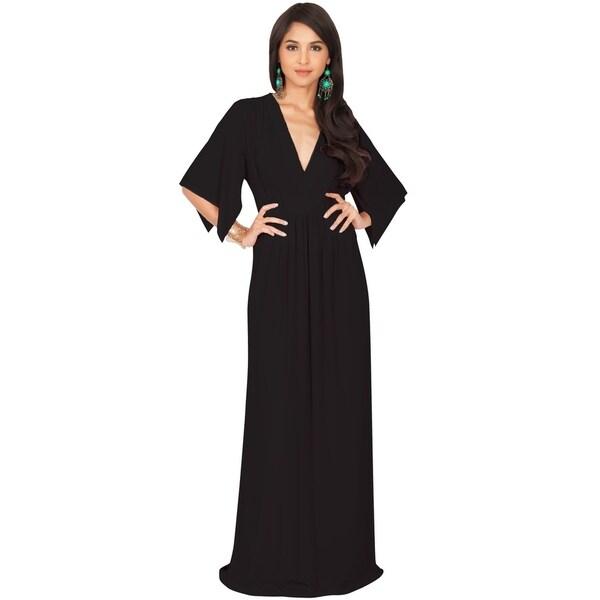 KOH KOH Women's V-neck Half Sleeve Empire Caftan Long Maxi Dress