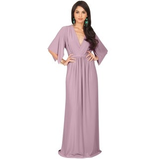 KOH KOH Women's V-neck Half Sleeve Empire Caftan Long Maxi Dress