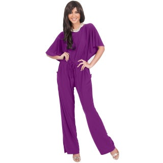 KOH KOH Women's Short Sleeve Boat Neck Slimming Formal Jumpsuit (More options available)