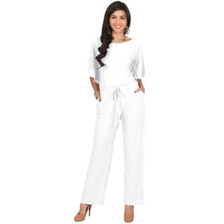 KOH KOH Women's Short Sleeve Boat Neck Slimming Formal Jumpsuit