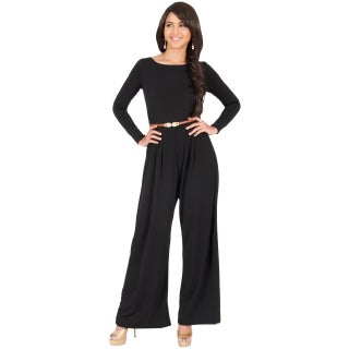 KOH KOH Women's Round Neck Long Sleeve High Waist Flared Romper Jumpsuit (3 options available)