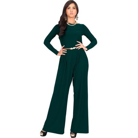 KOH KOH Women's Round Neck Long Sleeve High Waist Romper Jumpsuit