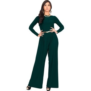 KOH KOH Women's Round Neck Long Sleeve High Waist Flared Romper Jumpsuit