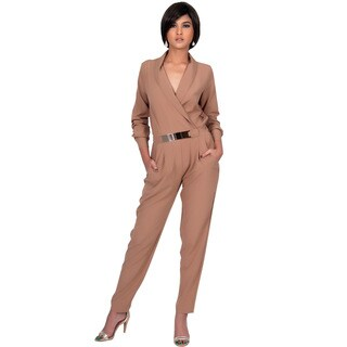 KOH KOH Women's Long Sleeve Metallic Belt Formal Chic Jumpsuit