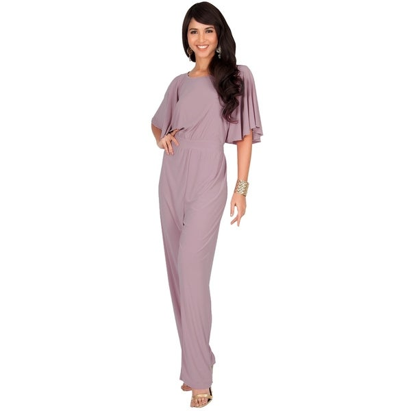 55170e487c5 KOH KOH Women  x27 s Round Neck Batwing 3 4 Sleeve Cocktail Jumpsuit. Click  to Zoom