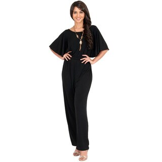 KOH KOH Women's Round Neck Batwing 3/4 Sleeve Cocktail Jumpsuit