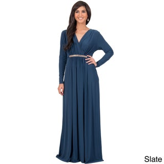 KOH KOH Women's Long Sleeve Caftan Maxi Dress with Glamorous Belt (4 options available)