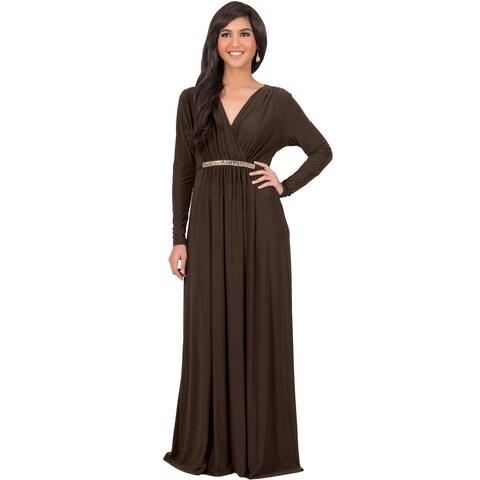 KOH KOH Women's Long Sleeve Caftan Maxi Dress with Glamorous Belt