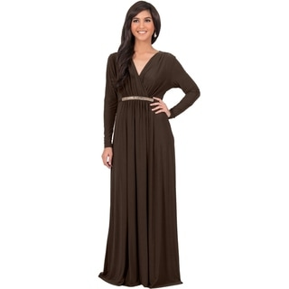 KOH KOH Women's Long Sleeve Caftan Maxi Dress with Glamorous Belt