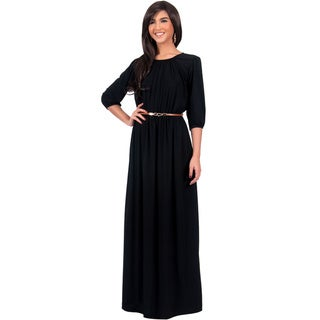 KOH KOH Women's Round Neck 3/4 Sleeve Cocktail Long Maxi Dress with Belt