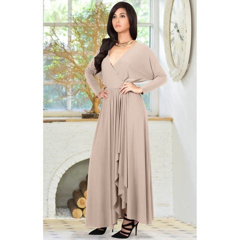 KOH KOH Womens Designer Long Sleeve Drape Split Cocktail Maxi Dress