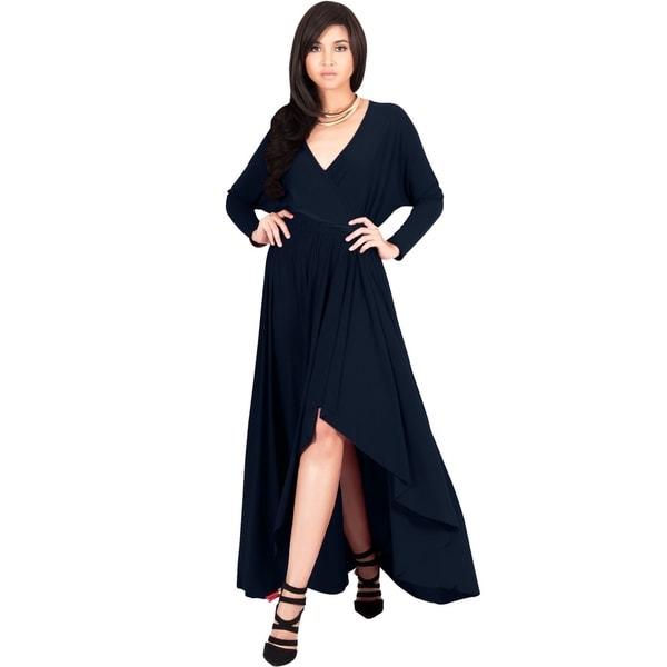 592a0adb6ca Shop KOH KOH Womens Designer Long Sleeve Drape Split Cocktail Maxi ...
