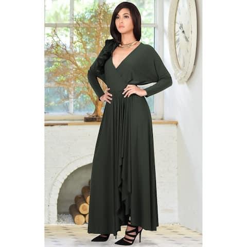 KOH KOH Womens Designer Long Sleeve Drape Split Cocktail Maxi Dress