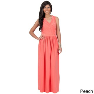 KOH KOH Women's Crossover Wrap Chest Sleeveless Maxi Dress