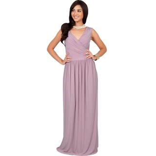 KOH KOH Women's Crossover Wrap Chest Sleeveless Maxi Dress