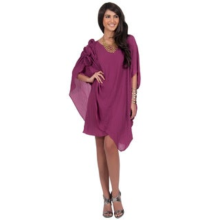 Koh Koh Women's Half Sleeve Mousseline Diva Evening Mini Dress