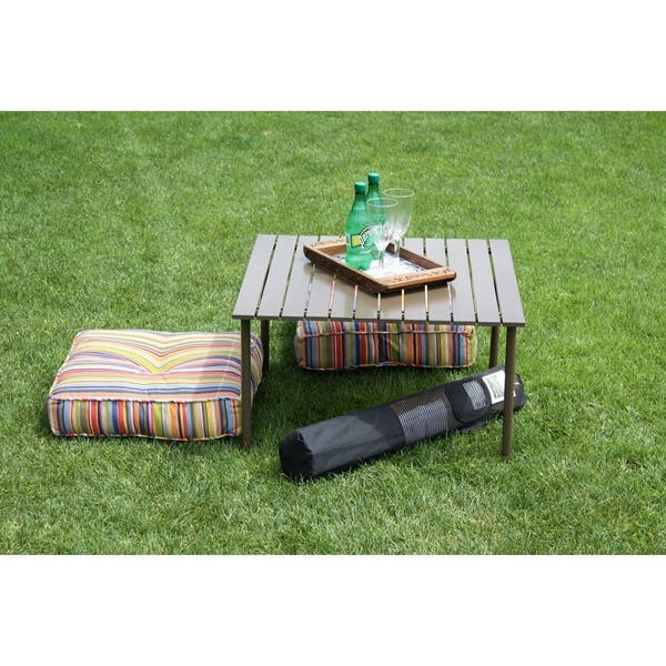 Brown Color Low Aluminum Portable Table In A Bag On