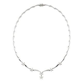 Kabella 18k White Gold 1 1/2ct TDW Diamond Flower Design Necklace (G-H, SI1)