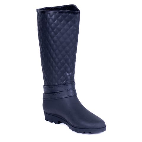 Womens Black Quilted Rubber Rain Boots