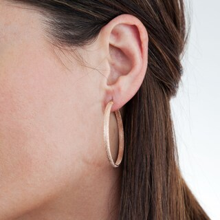 Stainless Steel 40mm Textured Hoop Earrings (2 options available)