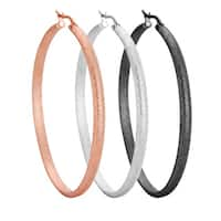Stainless Steel 50mm Textured Hoop Earrings