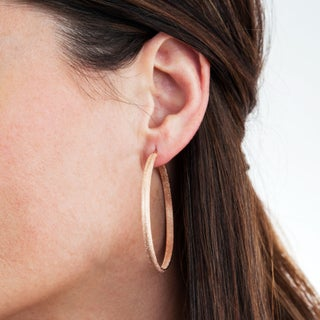 Stainless Steel 50mm Textured Hoop Earrings (2 options available)
