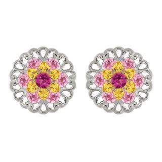 Lucia Costin Sterling Silver Fuchsia/ Light Pink Crystal Earrings