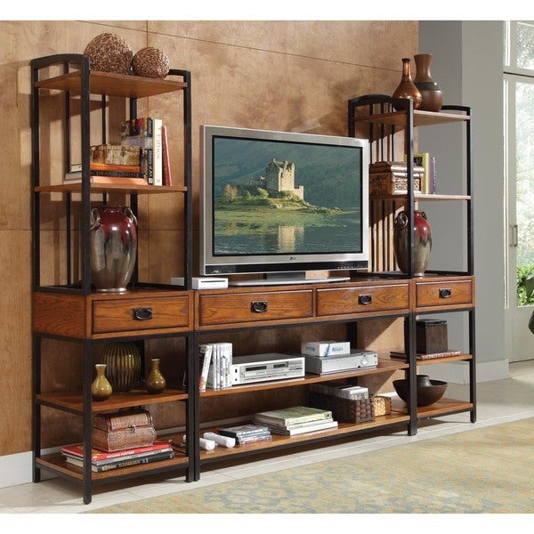Shop Carbon Loft Mendocino Distressed Oak 3 Piece Media Center