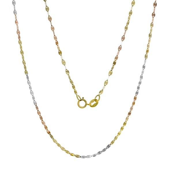 Roberto Martinez 14K Tri-color Gold Italian Marquise Mirror Link Chain (16-20 inches) - Multi