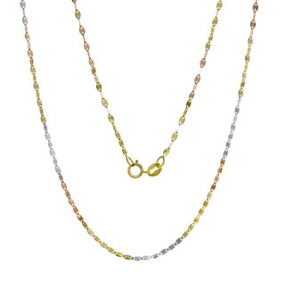 14K Tri-color Gold Italian Marquise Mirror Link Chain (16-20 inches) - Multi