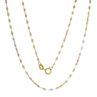 14K Tri-color Gold Italian Fancy Mirror Link Chain (16-20 inches)