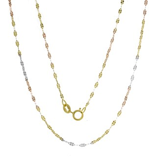 Italian 14K Tri-color Gold Fancy Mirror Link Chain (16-20 inches)