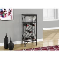 Home Bar 40 Inch Black Metal Wine Bottle and Glass Rack