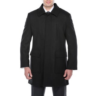 Verno Emon Men's Black Wool Blend Peacoat