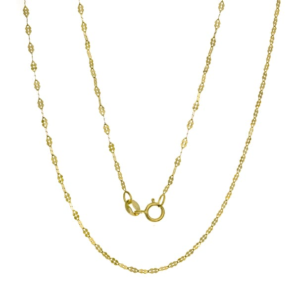 Roberto Martinez Italian 14k Gold Fancy Mirror Link Chain (16-20 inches )