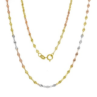 14K Tri-color Gold Italian Fatima Mirror Link Chain (16-20 inches )