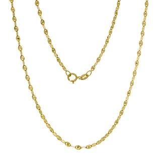 14K Gold Italian Fatima Mirror Link Chain (16-20 inches )