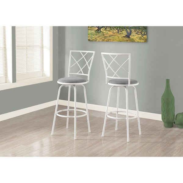 Bar Stool 2 Piece White Metal Grey Fabric Seat Free