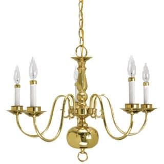 Chandelier Brass: Crown Lighting Traditional 5-light Williamsburg Style Polished Brass  Chandelier,Lighting
