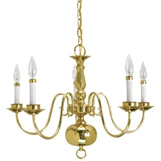 Crown Lighting Traditional 5-light Williamsburg Style Polished Brass Chandelier