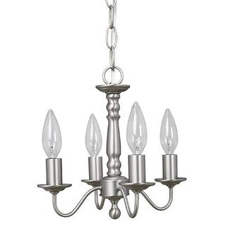 Crown Lighting Traditional 4-light Williamsburg Style Brushed Nickel Mini Chandelier