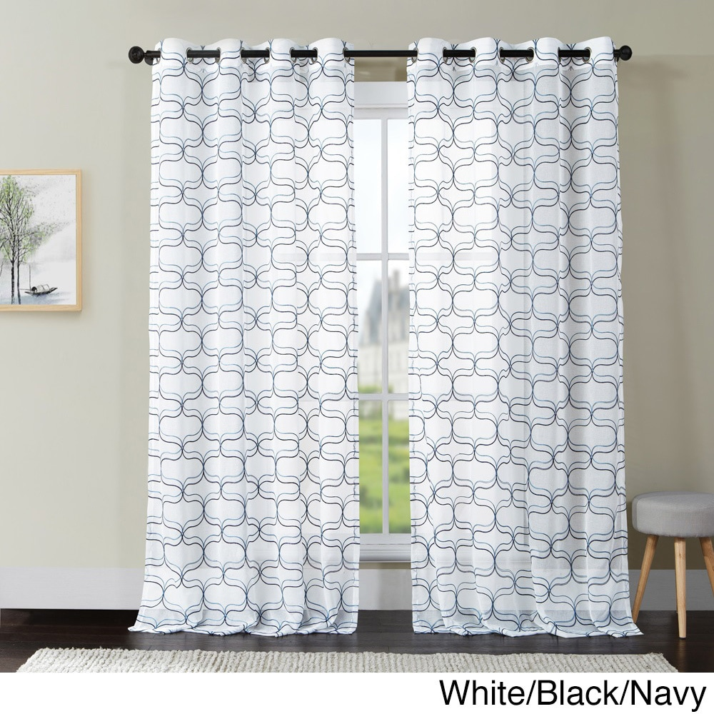 Vcny Khara Embroidered Sheer Curtain Panel with Grommets ...