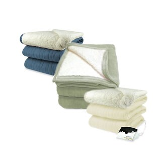 Biddeford 2064-9052140-500 MicroPlush Sherpa Electric Heated Blanket King Denim