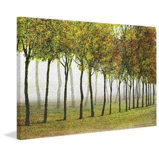 Marmont Hill - Row Of Trees Green by Chris Vest Painting Print on Canvas