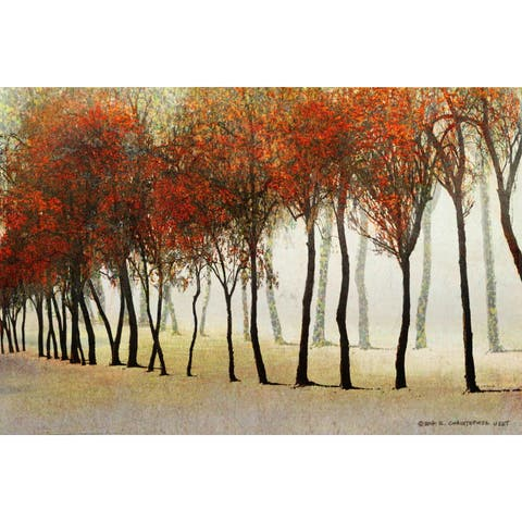 Marmont Hill - Handmade Row Of Trees Red Painting Print on Canvas