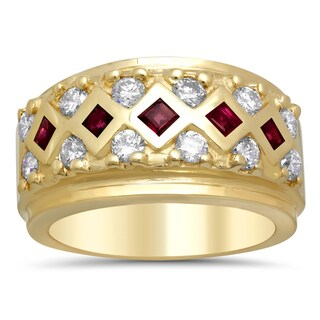 14k Yellow Gold 4/5ct TDW Diamond and Ruby Ring (F-G, SI1-SI2)