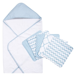 Trend Lab Blue Sky 6-piece Dot Hooded Towel and Wash Cloth Set