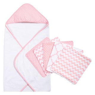 Trend Lab Pink Sky 6-piece Dot Hooded Towel and Wash Cloth Set