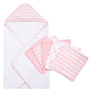 Trend Lab Pink Sky 6-piece Chevron Hooded Towel and Wash Cloth Set|https://ak1.ostkcdn.com/images/products/10910768/P17942391.jpg?impolicy=medium